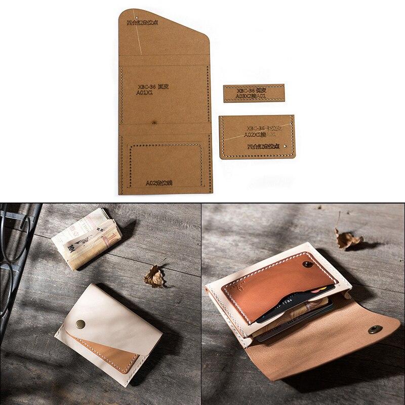 1 Set DIY Leather Handmade Card Package Business Card Holder Wallet Sewing Pattern Hard Kraft Paper Stencil Template