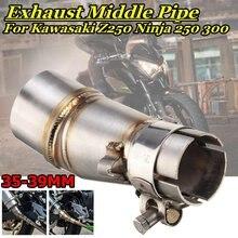 Tubo de escape da motocicleta meio silenciador ligação escape escape adaptador para kawasaki z250 ninja 250 300 2013-2016 250cc 300cc z300