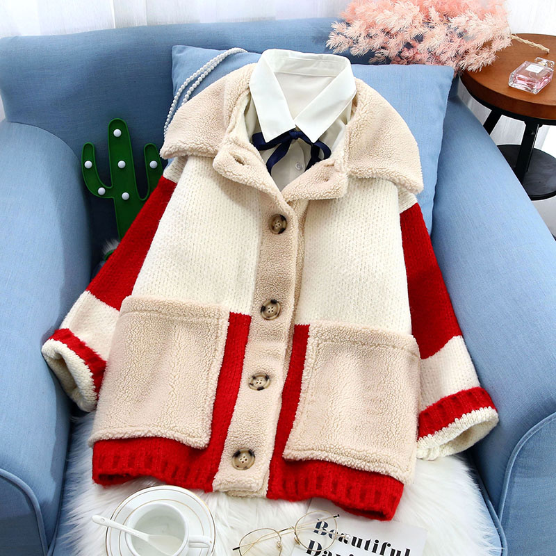 winter 2019 new knitted women sweater and cardigan thicken warm pocket v-neck fleece fur outwear all match coat tops