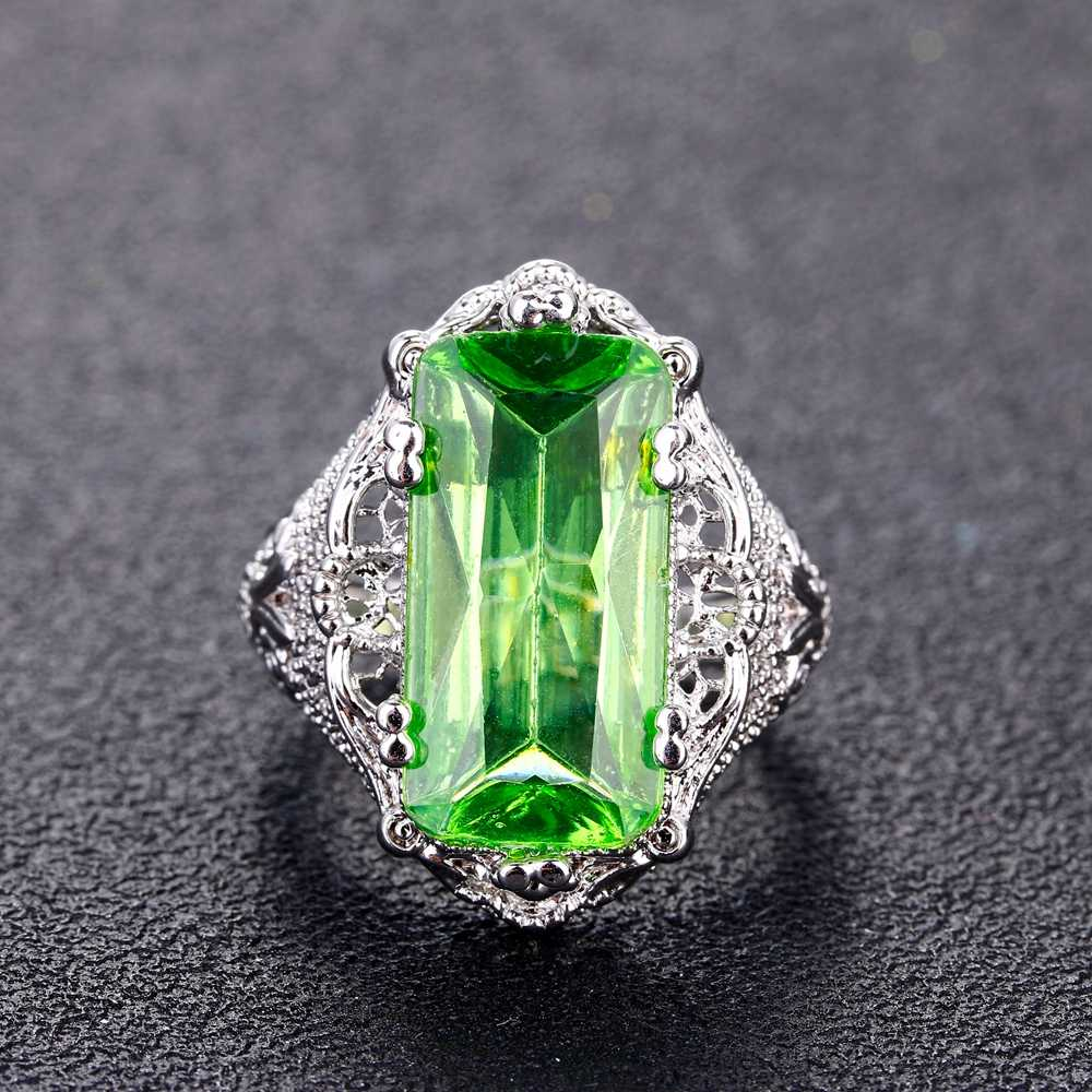 Кольца для женщин зеленый топаз кольцо 10x20 мм большой цветной камень Берил романтический подарок помолвка оптовая продажа ювелирных изделий