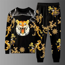 Suit T-Shirt Men's Long-Sleeved Trousers 2-Piece-Set New Trend Youth 3D Print Tiger-Head-Printing