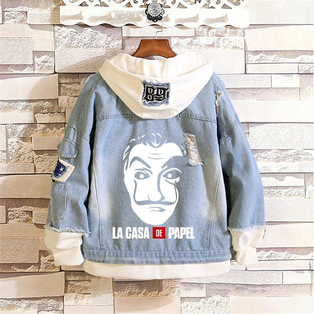 Hip hop Cool Hoodies Denim Sweatshirts Cosplay House Kpop Hooded Jacket Print Poleron Hombre Money Heist The Paper Tops