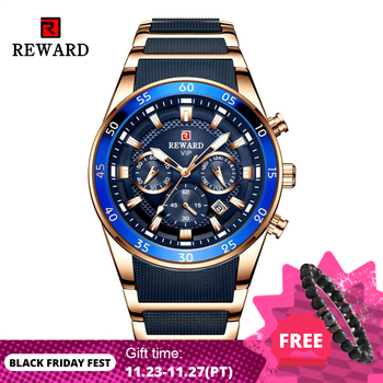 REWARD Brand Mens Watches Luxury Quartz Blue Watch Full Steel Men Chronograph Waterproof Business Wrist Watch Relogio Masculino relogio masculino wwoor luxury mens analog quartz business gold wrist watch men full steel waterproof sports watches male clocks