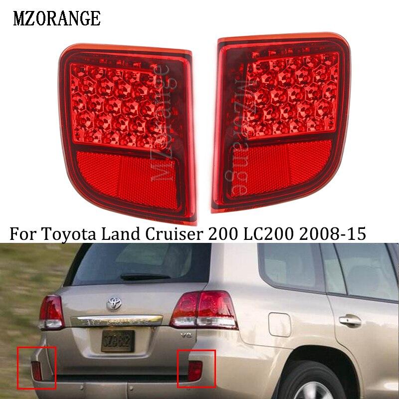 MZORANGE LED arrière pare-chocs réflecteur queue arrière brouillard lampe frein avertissement pour Toyota Land Cruiser 200 LC200 accessoires 2008-15