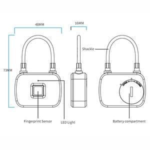 Image 4 - Microdata Vingerafdruk Lock Beveiliging Keyless Deurslot Vingerafdruk Smart Hangslot Quick Unlock Draagbare Anti Diefstal