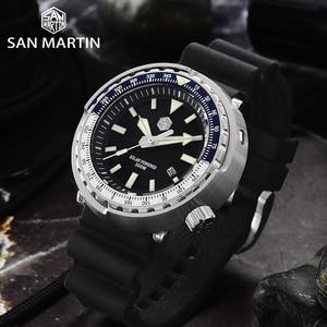 Image 4 - San Martin TUNA Diver Stainless Steel Watch Men Quartz Watches VS37 Solar Sapphire Crystal Date Display Waterproof Super Glow