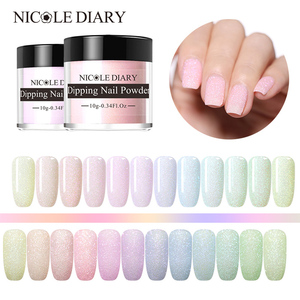Image 1 - NICOLE DIARY Blinking Dipping Nail Powder Colorful Sweet Dip Glitter Chrome Nail Art Decorations Dipping Base Top Activator