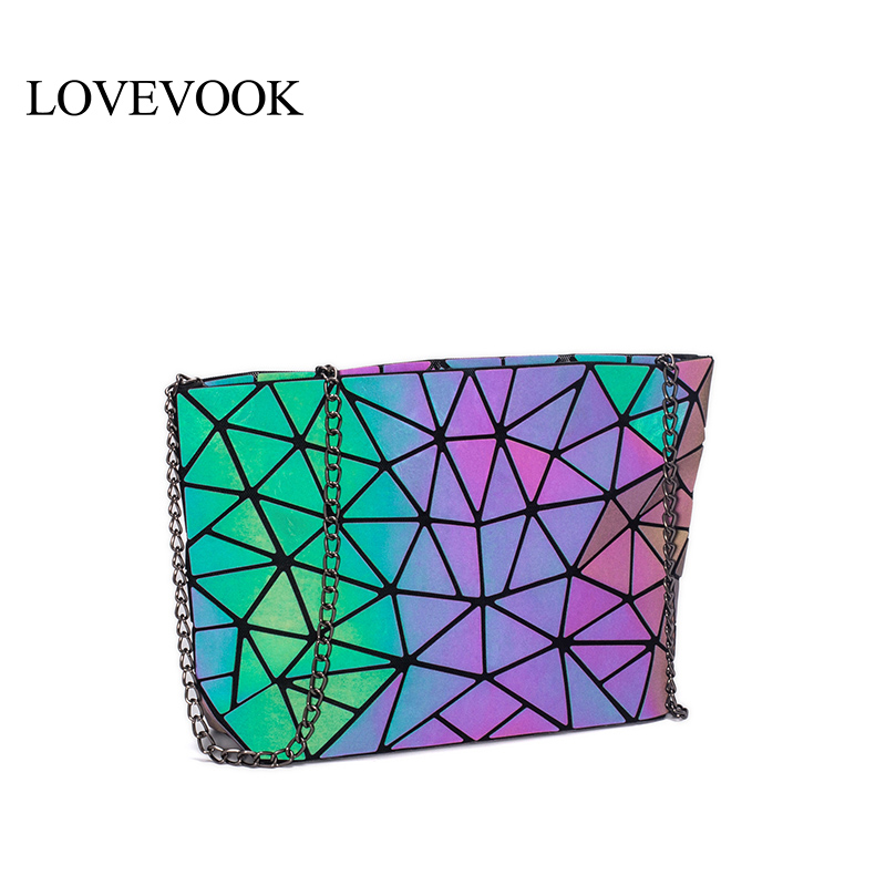 LOVEVOOK Crossbody Bags For Women 2019 Foldable Messenger Bags With Retro Famale Shoulder Bag Geometric Bag Luminous Color 2019