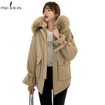 PinkyIsBlack Warm Wool Liner Winter Coats Jackets Women Fur Hooded Casual Thick Parkas Short Coat Outerwear