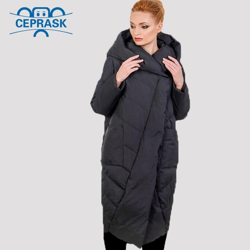 2019 New High Quality Thick   Parka   Plus Size Long Bio fluff Hooded Winter coat Women European style Warm Stylish Winter Jacket