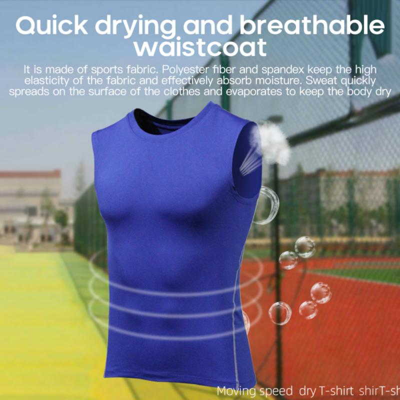 Newest sports fitness clothes quick-drying clothes fitness tops running training stretch compression vest breathable tights men