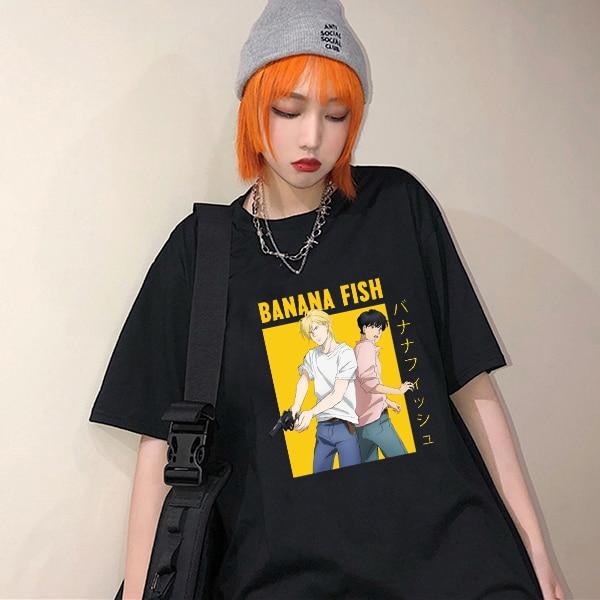 Top Graphic Tshirt Short-Sleeve Banana-Fish Manga Streetwear Hip-Hop Anime Japan Casual