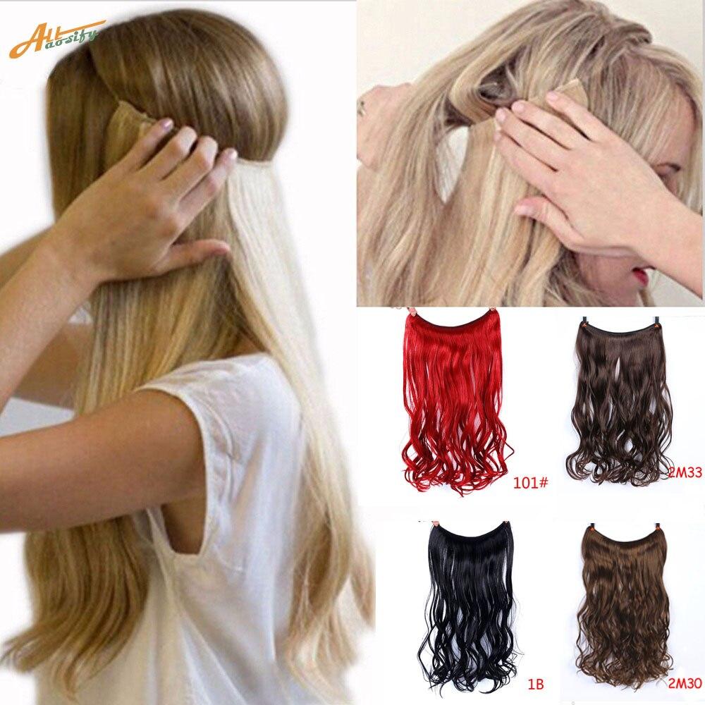"""Allaosify 24 """"Невидимая проволока без зажимов для наращивания волос потайная леска для волос Синтетические прямые волнистые волосы для наращивания"""