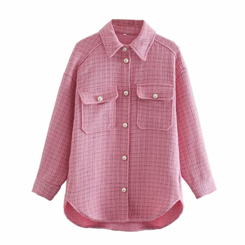 Tweed Women Vintage Oversize Shirt 5