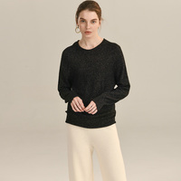 100% Cashmere Seamless Sweater 2 Colors Women Shining Wire O Neck Solid Long Sleeves Pullovers Knitwear Autumn New Fashion