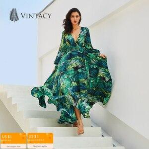 Image 2 - Vintacy ארוך שרוול שמלת ירוק טרופי חוף בציר מקסי שמלות Boho מקרית V צוואר חגורת תחרה עד טוניקה עטוף בתוספת גודל שמלה
