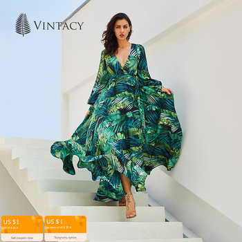 Vintacy Long Sleeve Dress Green Tropical Beach Vintage Maxi Dresses Boho Casual V Neck Belt Lace Up Tunic Draped Plus Size Dress 1