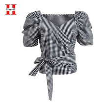 Puff Short Sleeve Plaid Blouse Women V-Neck Bow Lace Up Tops Women Casual Crop Top Female Summer Streetwear Blouses Vintage Blus lace up front sweetheart neck plaid bandeau top