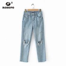 ROHOPO Thigh Hole Vintage Cotton Ripped Sky Blue Jeans Woman Retro Autumn Denim Bottoms #8053