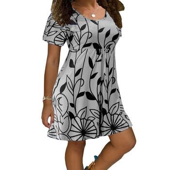 2020 New Summer Dresses Women Casual Short Sleeve O-Neck Print A-line Dress Large Size Streetwear Sundress Loose Dress Vestidos - Myh006 Gray, XXXL