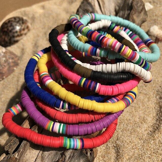 Bohème polymère argile Multi arc-en-ciel couleurs Bracelets femmes mode Vsco fille belle été plage Surf bijoux