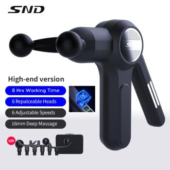 SND Massage Gun for Athlete,Professional Massager Neck Back Body Muscle Relax with 6 Heads 6 Adjustable Speeds Fitness DeviceDev