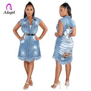 Опрятная синяя джинсовая рубашка с пуговицами спереди, платье-туника из потертой джинсовой ткани с карманом, летнее платье без рукавов, сов...