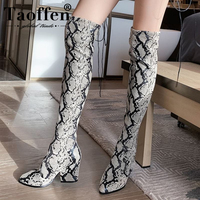 TAOFFEN Sexy Pointed Toe Shoes Winter Women Long Boots Fashion Snakeskin PU Leather Over The Knee Boots Women Size 34 43