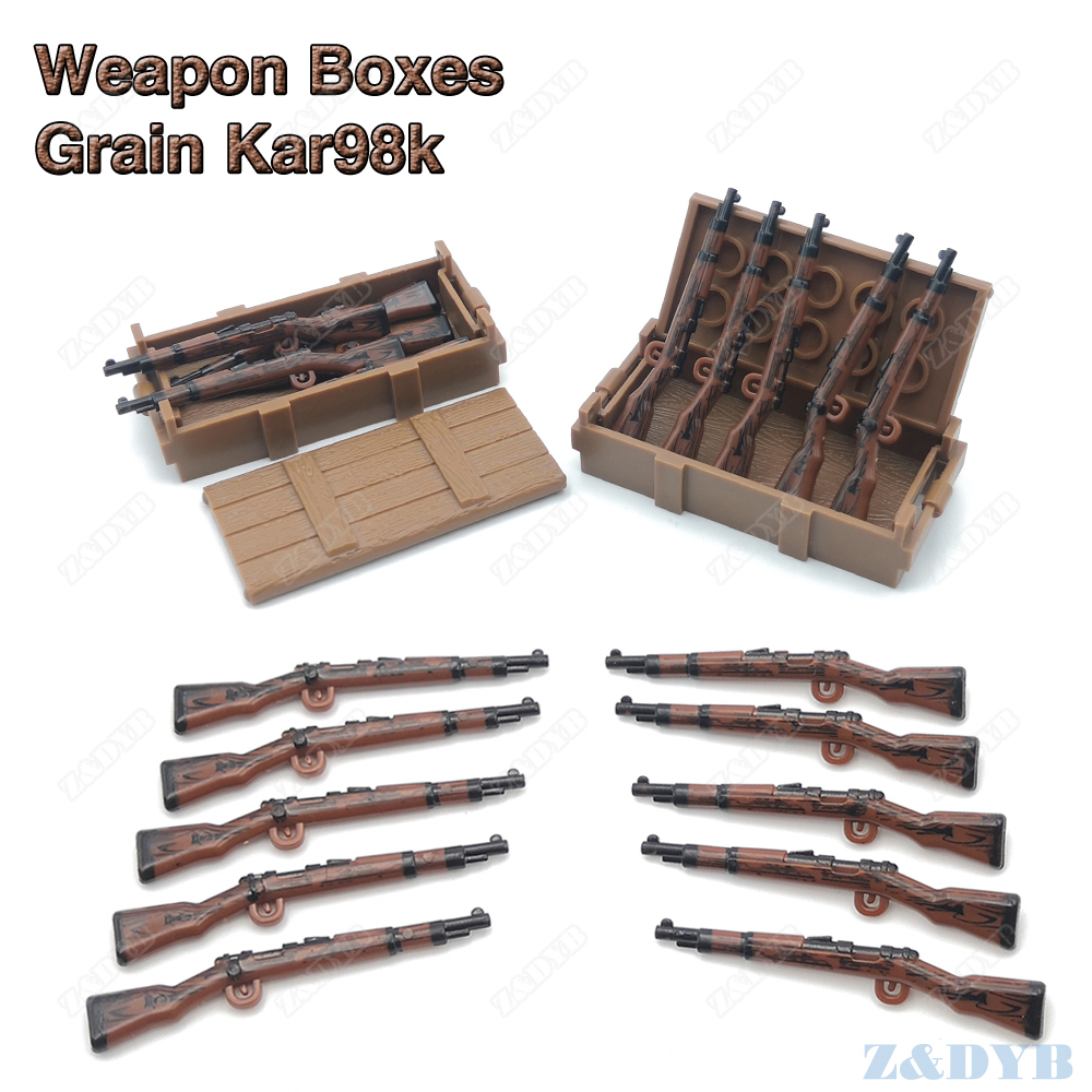 Grain 98K Rifle Weapon Box Compatible Mini Soldier WW2 Military Gun Figure Playmobil Model Building Block Brick For Children Toy