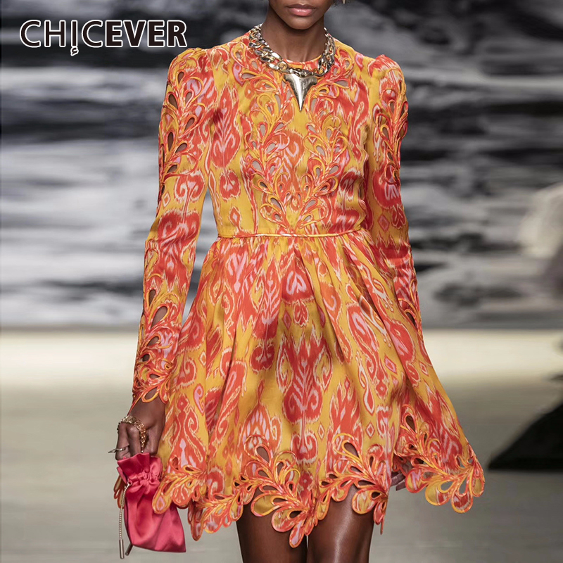 CHICEVER Print Hollow Out Dress For Women O Neck Long Sleeve High Waist Hit Color Dresses Female Clothing Fashion 2020 Tide