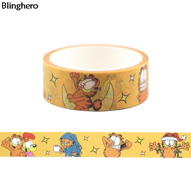 Blinghero 15mmX5m Funny Cartoon Masking Tape Cute Cat Adhesive Tapes Cool Washi Tape Diary Tape Sticker Gift For Friends BH0399