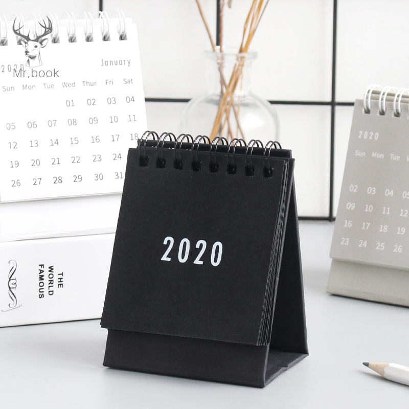 2020 Mini Desk Calendar Creative Office Desktop Decoration Small Daily Schedule Calendar Portable Notepad Coil Calendar