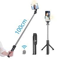 Mini Palo de selfi Con Luz de relleno Led, trípode Con Bluetooth Para lámpara móvil, soporte de teléfono, Portabl Con Luz Palo Extensible Para Video Stojak