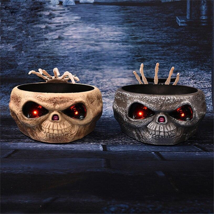 Decorações de halloween adereços de horror elétrico brinquedos doces organizador com salto crânio festa à mão suprimentos horror frutas doces tigela