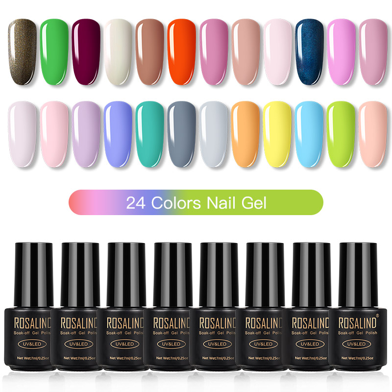 ROSALIND Gel Nail Polish Set Solid Color Nail Kit For Manicure Vernis Semi Permanent 7ML Gel Kit Top And Base All For Manicure 8