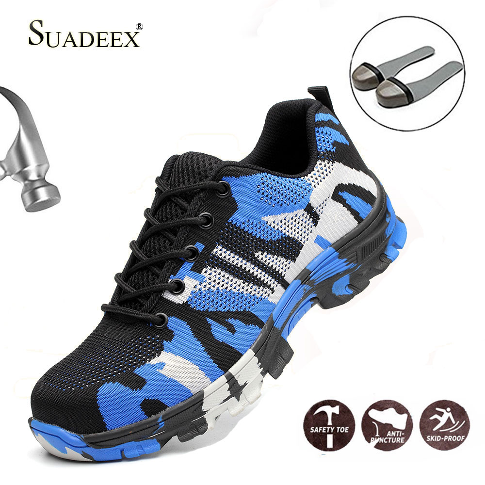 SUADEEX Safety Shoes Steel Toe Work Shoes Men Women Breathable Ankle Work Boots Construction Boots Anti-Smashing Plug Size 35-48