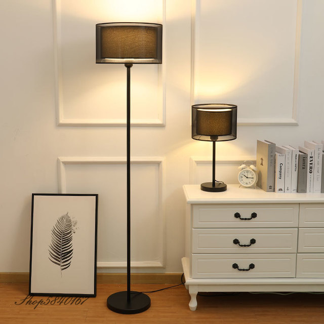 Hot Offer F94bda Nordic Floor Standing Lamps For Bedroom Lights Modern Floor Lamp Double Layer Fabric Lampshade Home Deco Tall Lamp Floor E27 Led Cicig Co
