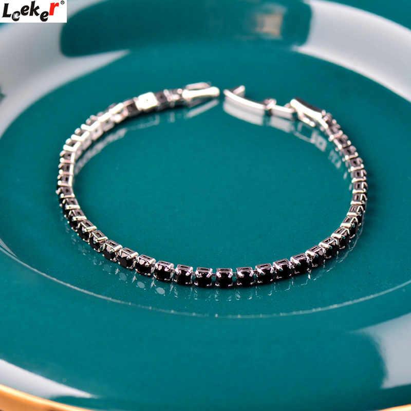 LEEKER Vintage czarny cyrkonia bransoletki tenisowe dla kobiety kolor srebrny księżniczka Cut biżuteria ślubna z cyrkonią sześcienna 059 LK9