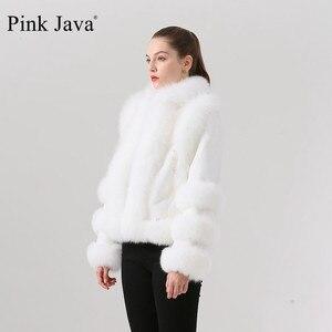 Image 2 - الوردي جافا QC19044 جديد وصول الساخن بيع النساء الشتاء الثعلب الحقيقي الفراء معطف ريكس الأرنب الفراء سترة النقي معطف أبيض الصينية نمط