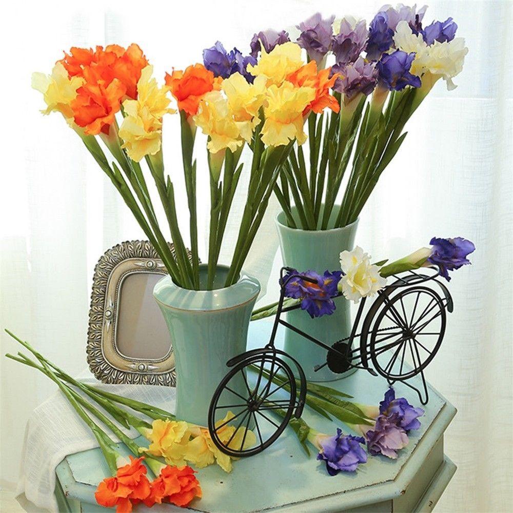 Искусственный Шелковый цветок радужной оболочки, недорогие искусственные украшения, Свадебный букет невесты для свадебной вечеринки, дома...