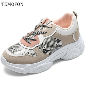 New Women Shoes Chunky Sneakers Women Platform Wedge Vulcanize Shoes Casual Fashion Spring Autumn Lace Up female Sneakers HVT606
