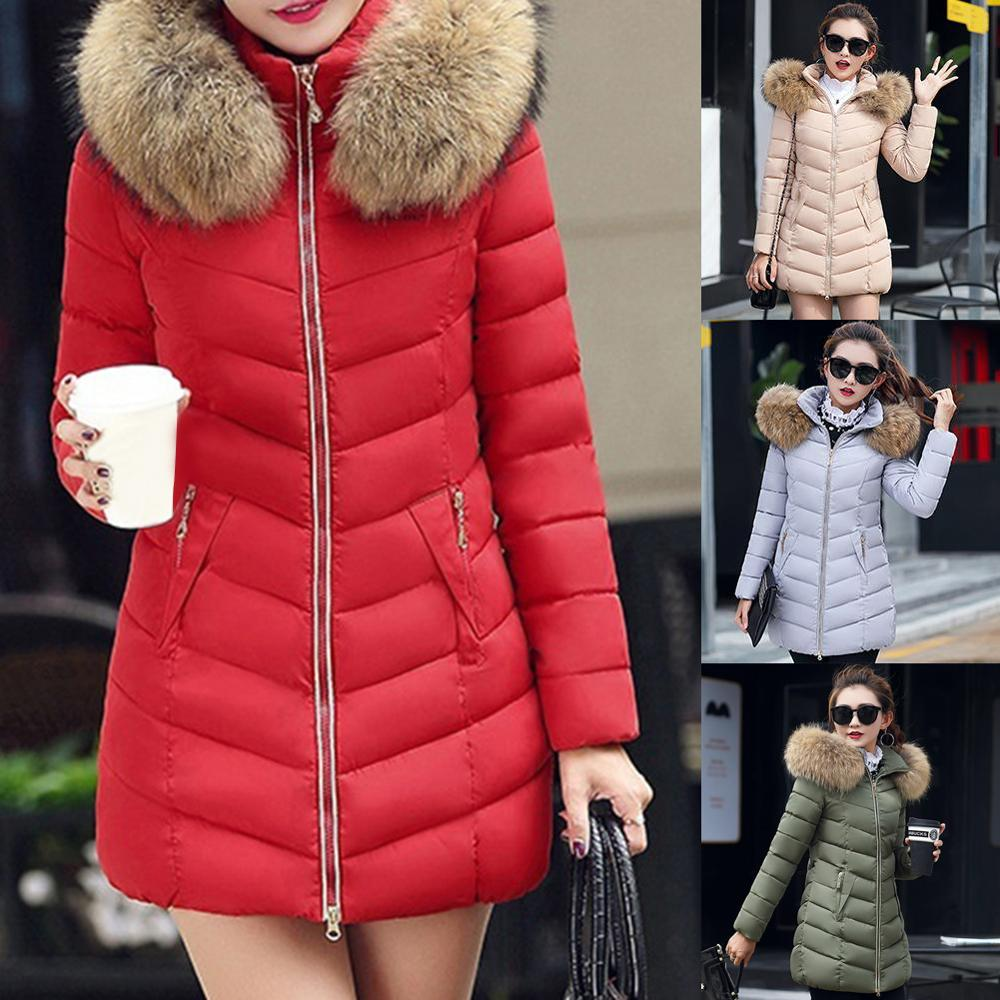 Women Down Cotton Jacket Coat Winter Casual Warm High Quality Thick Coat Hooded Fake Faux Fur Collar Solid Female Overcoat Parka