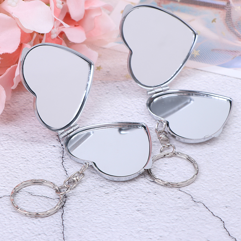 1pc New Metal Folding Mirror Key Ring Keychain Portable Compact Cosmetic