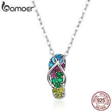Bamoer-collier avec pendentif en argent Sterling 925 pour femmes, collier avec pendentif en argent Sterling, bijoux en CZ, accessoires de vacances, SCN408