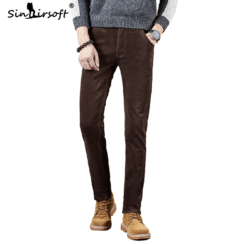 Corduroy Casual Full Length Pants Warm Men's Heavyweight Button Harem Pants Male 2019 Autumn And Winter Skinny Stretch Trousers