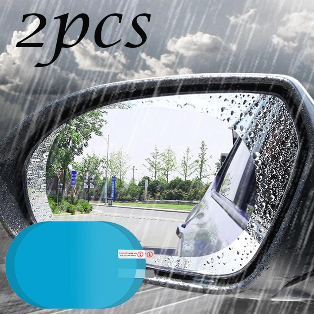 2 Pcs Car Waterproof Antifogging Film Rear View Mirror Water Resistant Water Mask Rearview Mirror Water Film Pet Film
