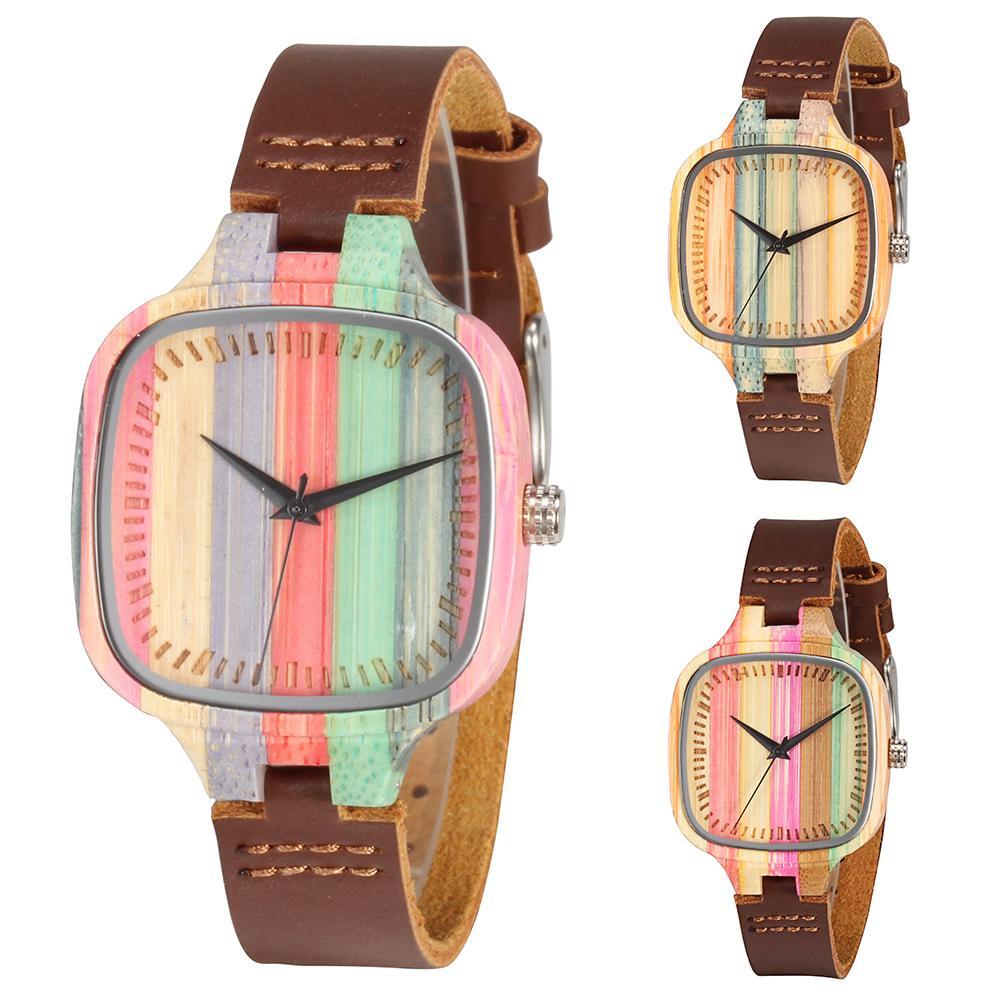 Women Multicolor Square Bamboo Dial Faux Leather Strap Analog Quartz Wrist Watch