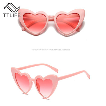 TTLIFE Fashion Love Heart Sunglasses Women Cute Sexy Retro Cat Eye Vintage Sunglasses Red Female Brand Designer Sunglass Pink цена 2017