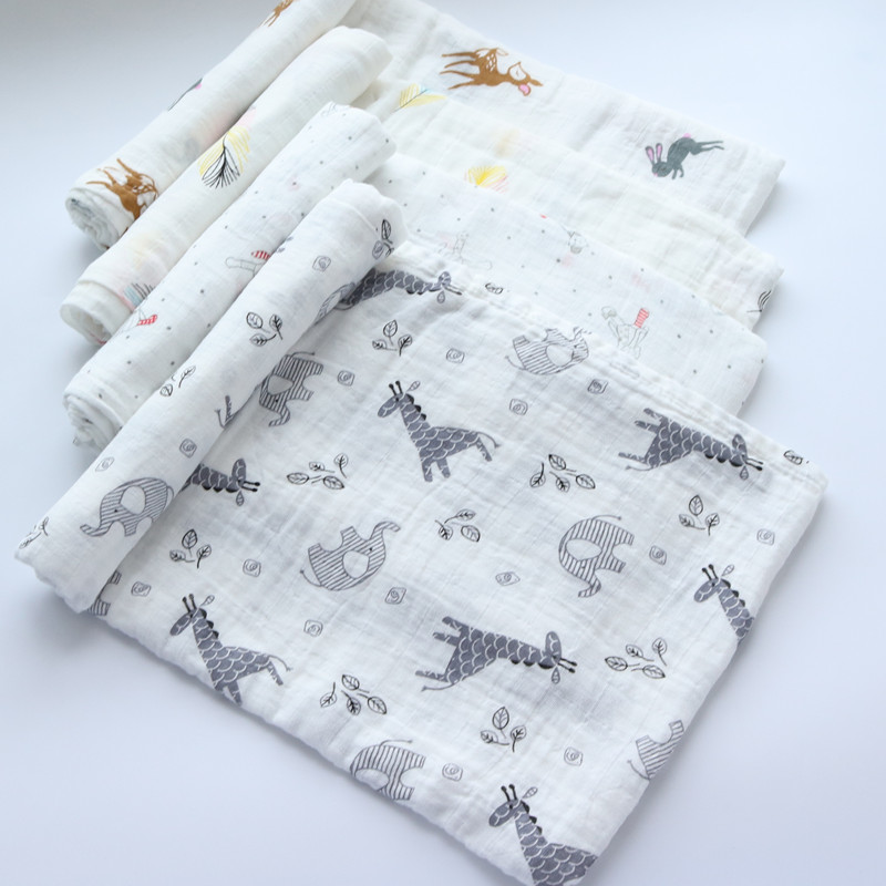 Muslin Cotton Baby Swaddles Newborn Baby Blankets Kids Breathable Multi-use Gauze Bath Towel Soft Sleeping Baby Warp Blankets