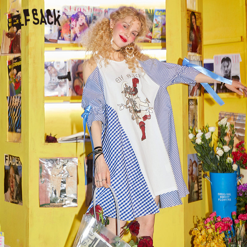 ELFSACK Blue Plaid Colorblock Bow Lace Up Casual Dress Women 2020 Spring Graphic Print Off Shoulder Korean Ladies Daily Dresses